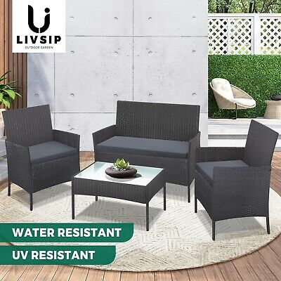 AU319.90 • Buy Livsip Outdoor Lounge Setting Garden Patio Furniture Wicker Chairs Table Rattan