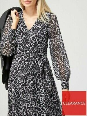 £5.99 • Buy V By Very Button Front Midi Dress - Animal Print -size 10.