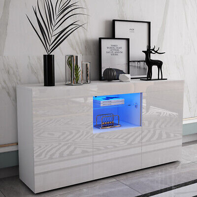 £88.45 • Buy White TV Unit Sideboard Cabinet Buffet LED Cupboard High Gloss Drawers 2 Doors