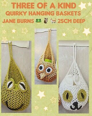 £2.85 • Buy Three Of A Kind Quirky Hanging Baskets Knitting Pattern 25 Cm Deep Jane Burns