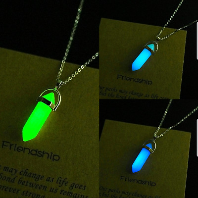 £3.99 • Buy Glow In The Dark Chakra Healing Crystal Silver Chain Necklace