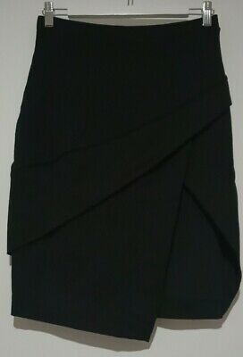 AU15.50 • Buy Forever New Women's Black High Thigh Slit Stretch Fabric Size 10 Skirt (#A391)