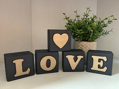£6.99 • Buy Personalised 5 Wooden Letter Blocks LOVE Painted In Fusion Paint Any Colour