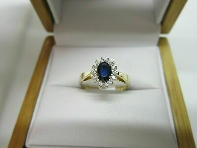 AU123.99 • Buy Estate 14K Yellow Gold Over Silver 2Ct Blue Sapphire And Diamond Engagement Ring