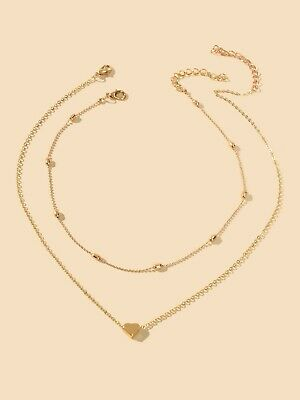 AU1.99 • Buy 2 Pcs Double Layered Chain Heart Charm Necklace Fashion Women Gift Jewellery