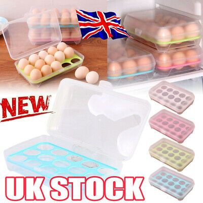 £5.85 • Buy 15 Grids Egg Holder Boxes Storage Box Eggs Refrigerator Container Plastic Case