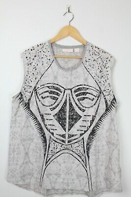 AU69.95 • Buy SASS AND BIDE Animal Embellished Top Womens - Sz L - Navy Blue - Tank Tee Sequin