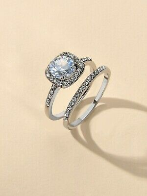 AU1.99 • Buy 2pcs Luxurious Jewellery Full Rhinestone Silver Finger Rings For Wedding Party