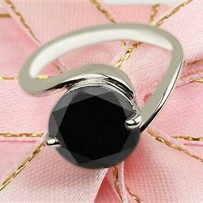 AU1.32 • Buy 925 Sterling Silver & 4.70Ct Round Cut Natural Black Diamond Solitaire Ring