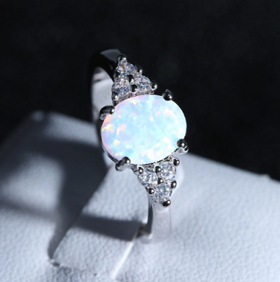 AU118.98 • Buy 2.90Ct Oval Cut Opal Diamond Solitaire Engagement Ring 14K In White Gold Finish