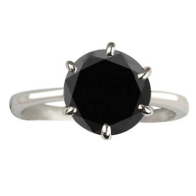 AU1.32 • Buy 4.55Ct Solitaire Round Shape Natural Jet Black Diamond Ring 925 Sterling Silver