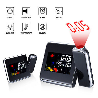 £8.79 • Buy Digital LCD LED Projector Projection Weather Station Calendar Snooze Alarm Clock