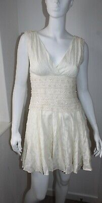 £45 • Buy Monsoon Fusion Ivory White Embellished Crochet Lace Gypsy Floral Dress BNWT