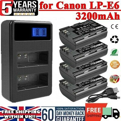 £15.99 • Buy 2x/4x 3200mAh LP-E6 Battery Or LCD Dual Charger For Canon EOS 80D 70D 60D 5D 6D
