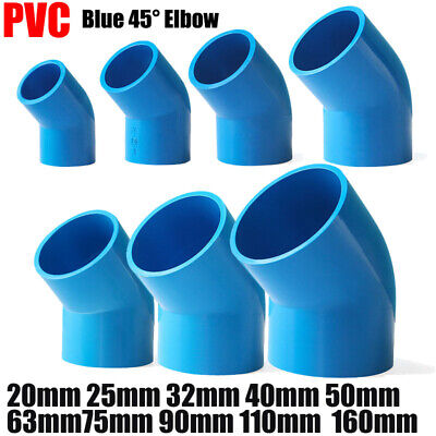 £2.03 • Buy PVC Water Supply Pipe Fittings 45° Elbow Coupling Connector 20mm To 160mm Blue