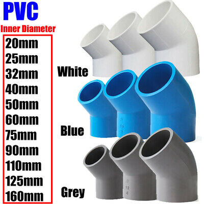 £2.09 • Buy PVC Water Supply Pipe Fittings 45° Elbow Connector 20mm To 160mm White Blue Grey