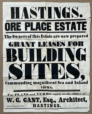 £1.99 • Buy Original 1860 Poster Advertising Land In Hastings East Sussex. Ore Place