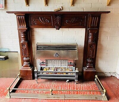 £65 • Buy Solid Mahogany Carved Fire Surround And Accessories (will Separate)