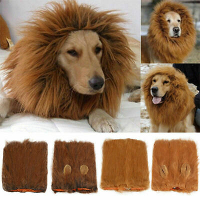 £9.99 • Buy Pet Clothes Christmas Dog Costumes Lion Mane Wig For Large Dogs Fancy Dress Up