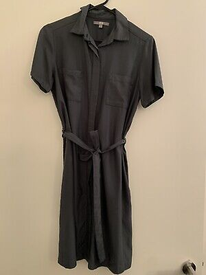 AU20 • Buy UNIQLO Size 8 Olive Green Collared Shirt Dress Button-down Short Sleeves