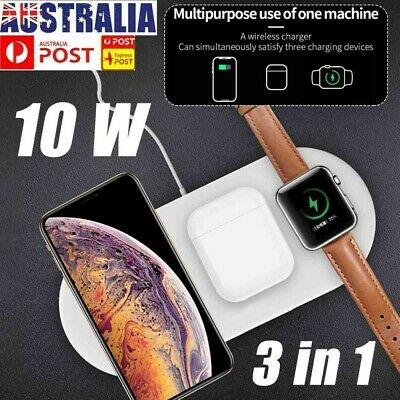 AU23.16 • Buy 3in1 QI Wireless Charger Charging Dock Station For Apple AirPods / IPhone/ Watch