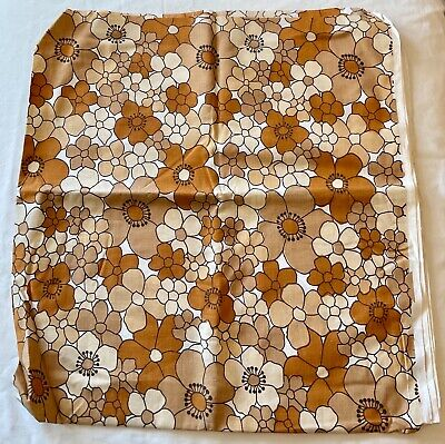 """£5.69 • Buy Vintage Retro 70's Floral Fabric Material 46"""" X 96"""" Browns Beiges"""