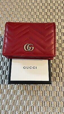 AU449.90 • Buy Gucci Marmont GG Quilted Leather Red Wallet Card Coin Holder Case 100% Authentic