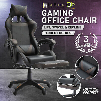 AU132 • Buy Gaming Office Chair Ergonomic Executive Computer Racing Study Footrest - Black