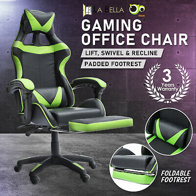 AU132 • Buy Gaming Office Chair Ergonomic Executive Computer Racing Study Footrest - Green