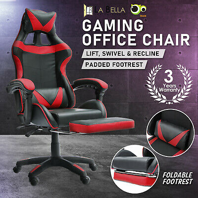 AU126 • Buy Gaming Office Chair Ergonomic Executive Computer Racing Study Footrest - Red