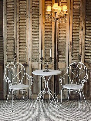 AU495 • Buy 3 Piece White Metal Vintage Outdoor Setting French Style Table & Chairs