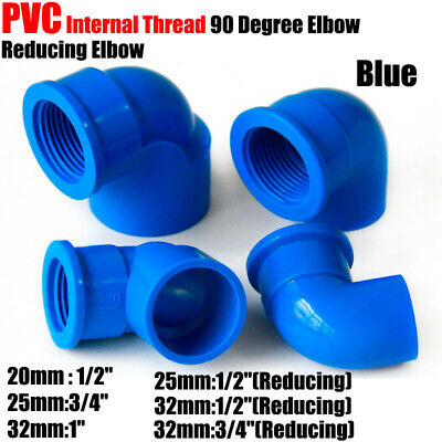 £1.95 • Buy 1/2  3/4  1  PVC Female Thread 90° Elbow Reducing Connector Pipe Fittings Blue