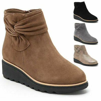 £15.95 • Buy Womens Ankle Boots Platform Low Wedge Heels Flat Booties Bowknot Warm Shoes
