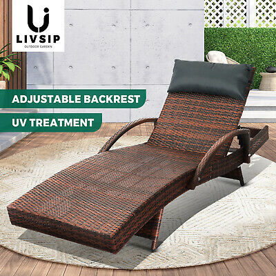 AU163.90 • Buy Livsip Outdoor Sun Lounger Wicker Lounge Day Bed Sofa Patios Setting Furniture