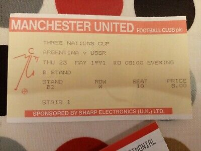 £4.21 • Buy Three Nations Cup 1991 Argentina V USSR @ Old Trafford Manchester United Ticket