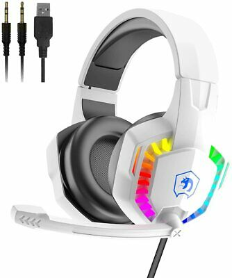 AU29.89 • Buy Wired Gaming Headset With Rainbow RGB Backlight Retractable Noise Isolating Mic