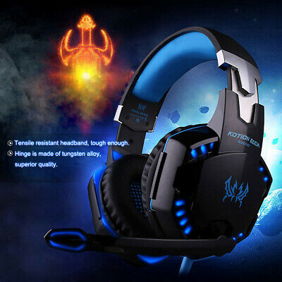 AU29.99 • Buy 3.5mm Gaming Headset MIC LED Headphones For PC Laptop PS4 Slim Pro Xbox One S X~