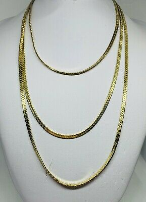 £4.14 • Buy Very Long Gold Chain Necklace, Flat Snake Chain Pattern, 41.5  Inches