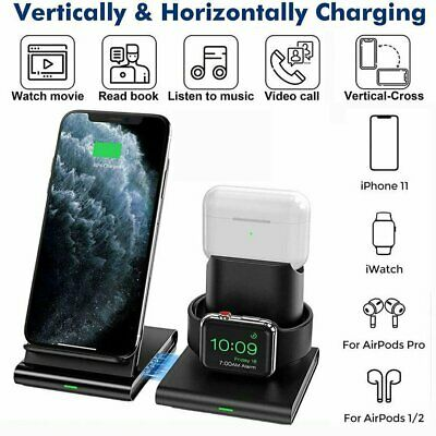 AU38.88 • Buy 3in1 Qi Wireless Charger Fast Charging Dock Stand For Airpods Apple Watch IPhone