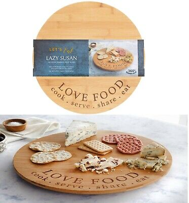 £14.99 • Buy Wooden Rotating Lazy Susan Tray Round Serving Pizza Plate Turntable Bamboo Board