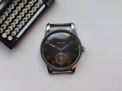 £129.52 • Buy Vintage RARE WATCH TITUS GENEVE BLACK DIAL AS 1002 MILITARY? WW2?? SERVICED
