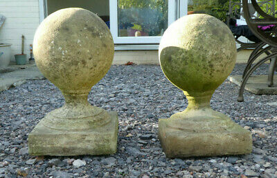 £14.99 • Buy Pair Of Stone Balls Gate Post Tops Used