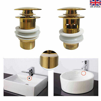 £11.99 • Buy Bathroom Basin Brass Waste Sink Pop Up Push Button Click Clack Plug Slotted