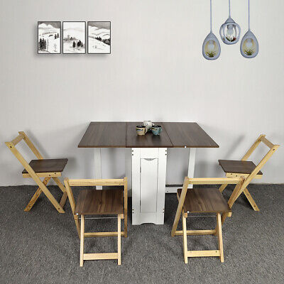 AU418.99 • Buy Table And 4 Chairs Wooden Folding Dining Set Extending Space Saving Small