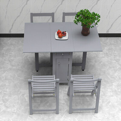 AU399.99 • Buy Table And 4 Chairs Wooden Folding Dining Set Extending Space Saving Small