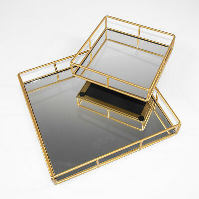 £11.99 • Buy Gold Square Mirrored Glass Decorative Trays Plates Candle Perfume Vanity Holder