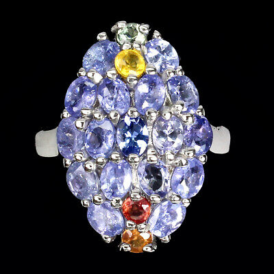 £0.72 • Buy Unheated Oval Blue Tanzanite 4x3mm Sapphire 925 Sterling Silver Ring Size 8