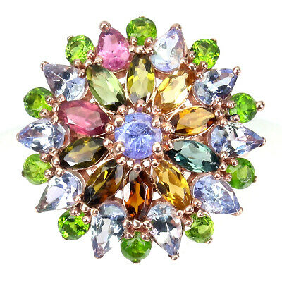 £0.72 • Buy Unheated Marquise Tourmaline Chrome Diopside Tanzanite 925 Sterling Silver Ring