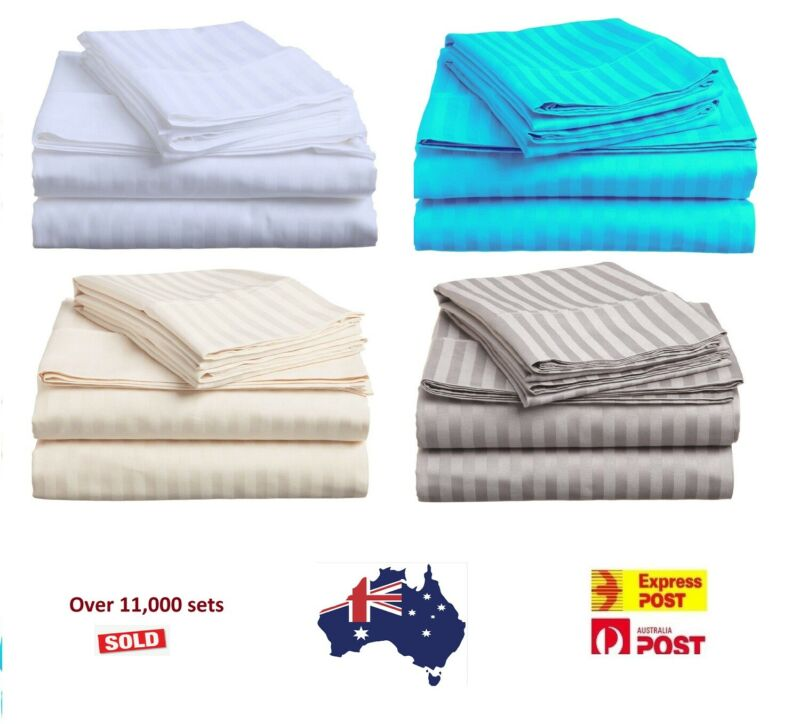 AU62.91 • Buy 1000TC Egyptian Cotton Queen Or King Size Bed Sheet Set (Stripe). 4 Pieces - New