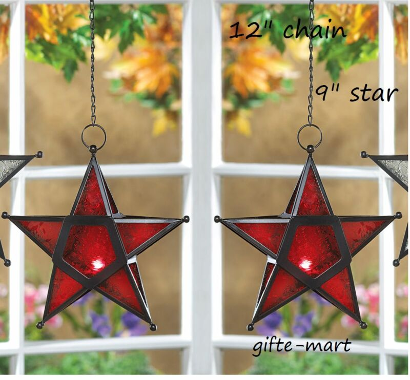 2 Country Barn Star Moroccan Hanging Candle Holder Lantern Light Outdoor Terrace • 26.75$